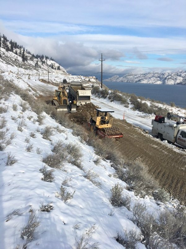 <who>Photo Credit: Ministry of Transportation and Infrastructure</who>Crews work on the Callan Road detour