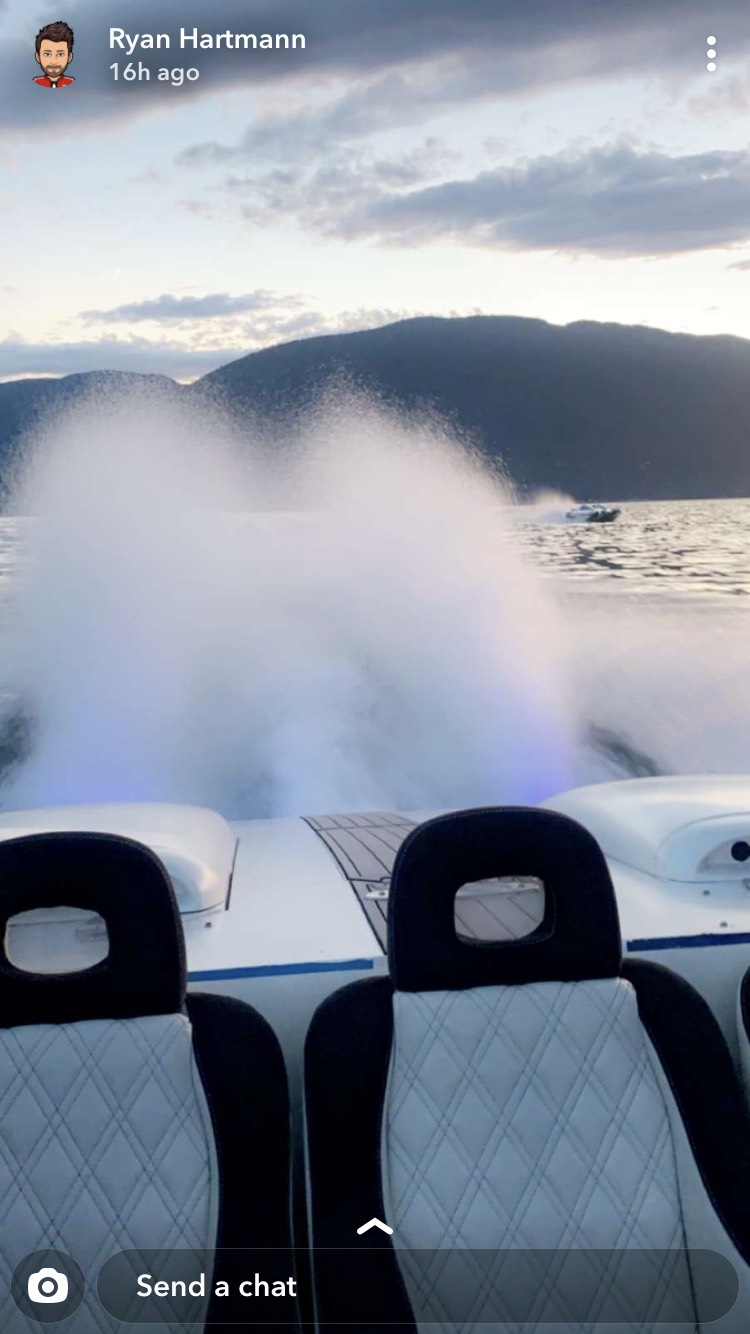 "<who>Photo Credit: Contributed</who>Hartmann's ""best friend"" said they received Snapchat photos and videos that showed the two boats racing on Shuswap Lake shortly before the crash occurred on Sunday night."
